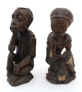 Ethnographic Native Tribal :   A pair of carved