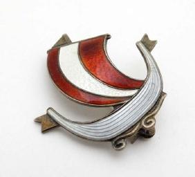 Scandinavian Jewellery : A silver brooch formed as a
