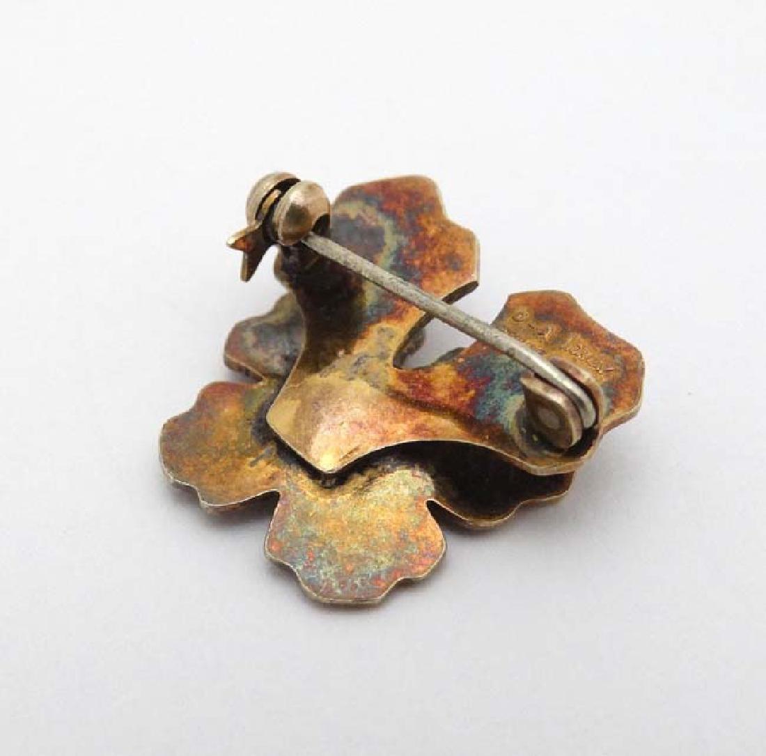Scandinavian Jewellery : A silver gilt brooch formed as - 4