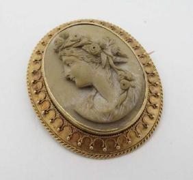 Grand Tour Jewellery : A 19thC lava cameo brooch