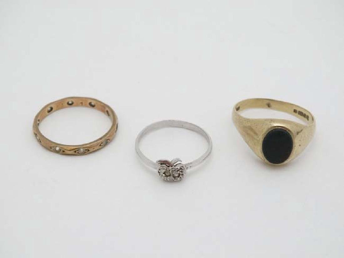 3 various rings to include 2 marked 9ct. (3)