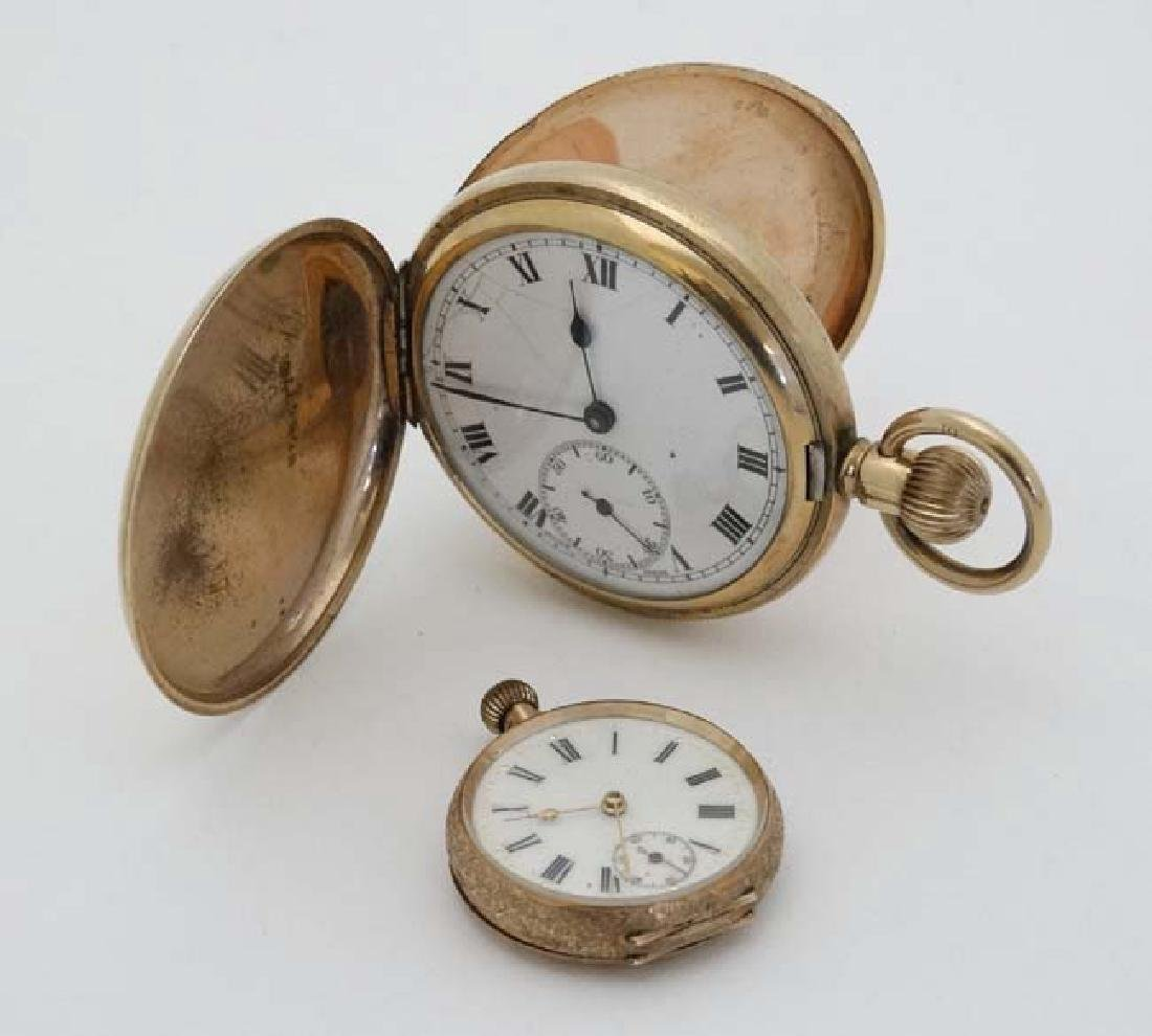 Gold and Gold plated pocketwatches : a Gold plated full - 3