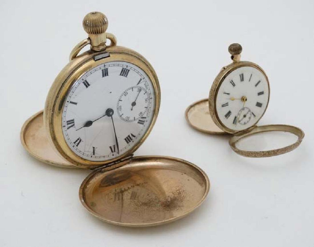 Gold and Gold plated pocketwatches : a Gold plated full - 4