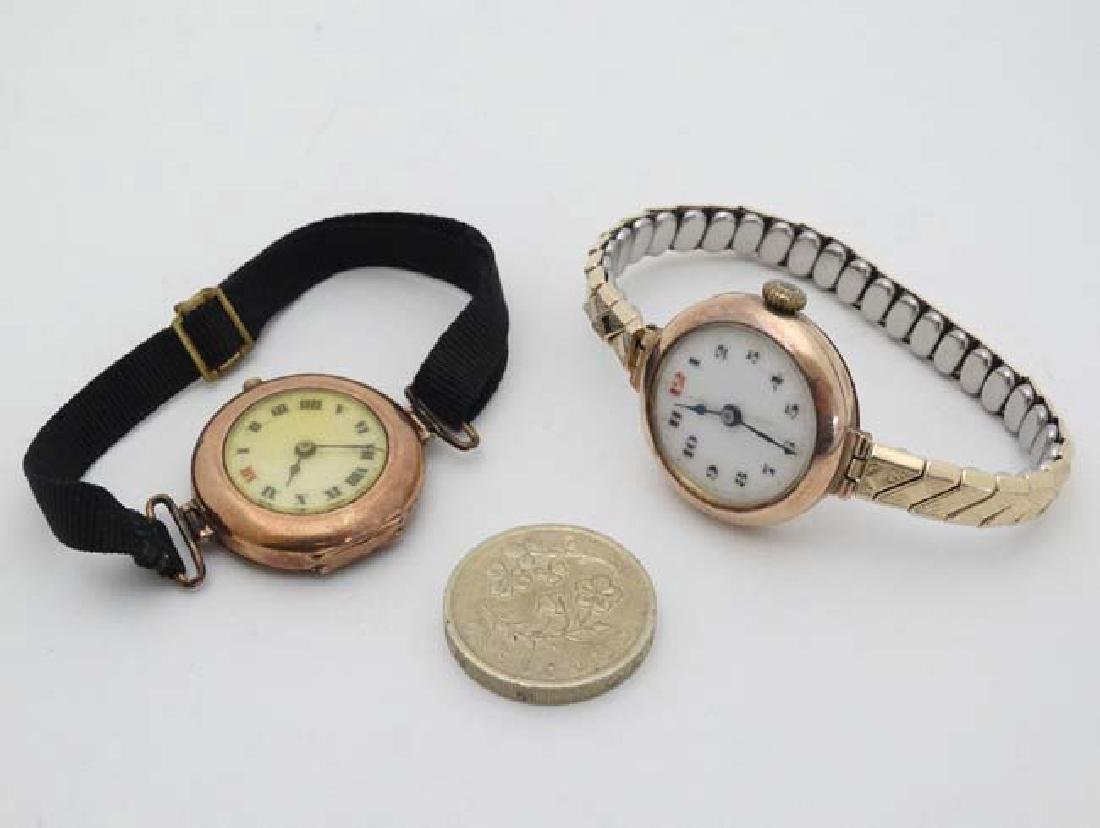 9 ct Gold  : an early Swiss mechanical wristwatch with - 3