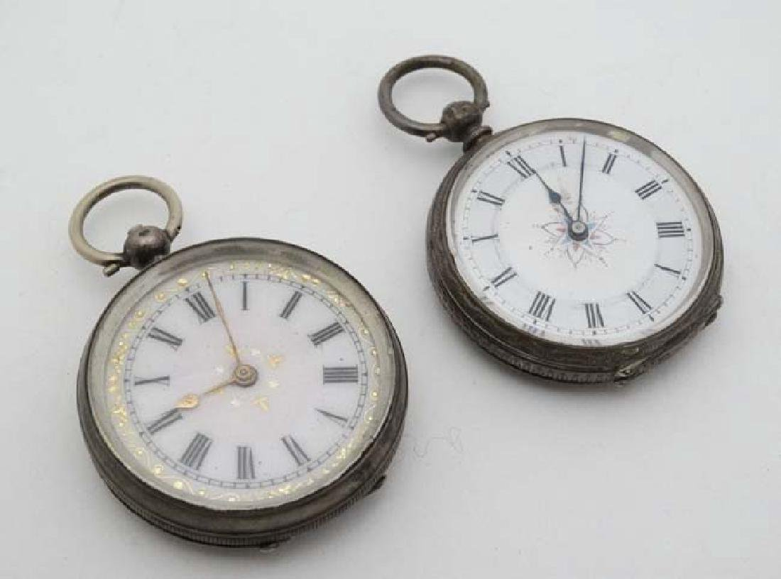 2 x .800 silver cased fob watches : a key wind ,
