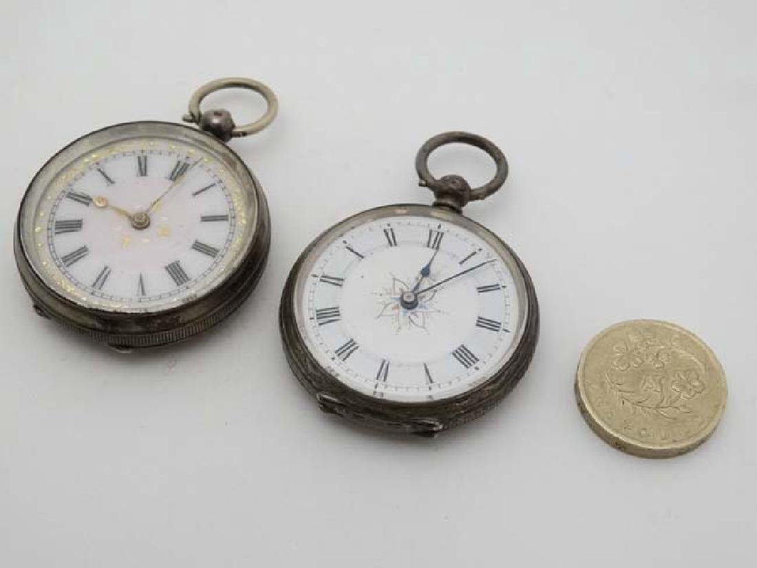 2 x .800 silver cased fob watches : a key wind , - 3