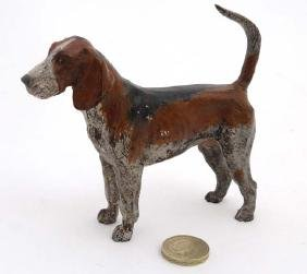 A late 20 thC cold painted cast bronze figure of a fox