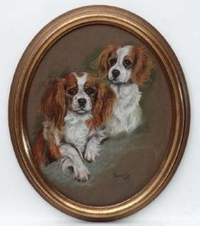 Marjorie Cox ( 1915-2003 ) Pastel Oval , Canine School