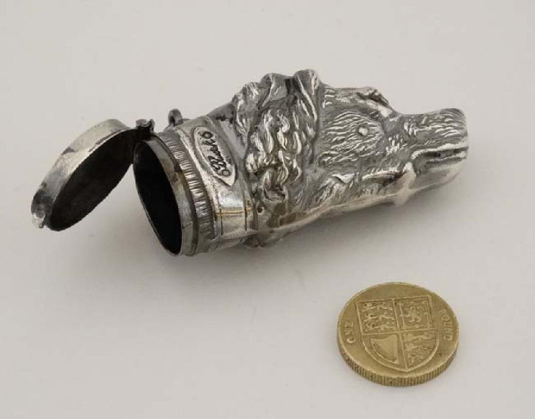 A silver plate novelty vesta formed as a dogs head. - 4