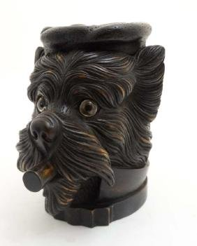 Black Forest : a 20 thC carved wooden novelty Tobacco