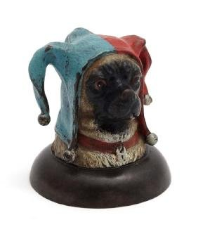A decorative cold painted bronze novelty inkwell formed