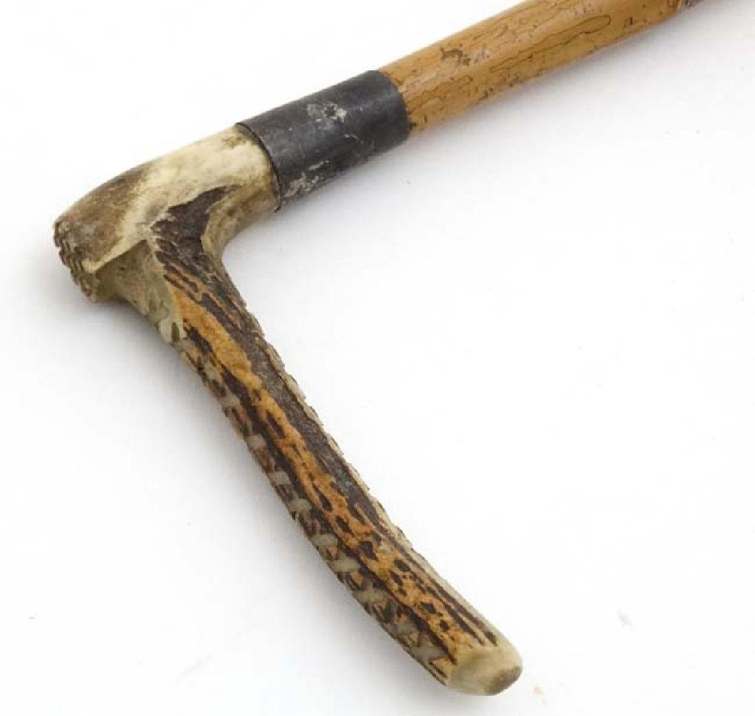 Equestrian : An early 20thC Antler handled , Bamboo - 4