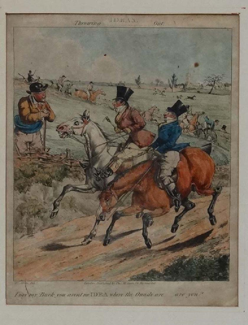 Hy Alken early XIX, Hand coloured Hunting engraving, '