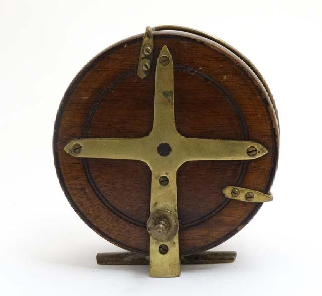 Fly Fishing : An old Salmon Fly Fishing Reel, a brass - 4
