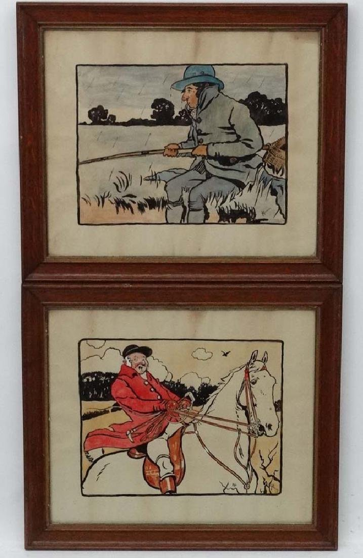 H Curren C.1900 Pen ink and watercolour , a pair
