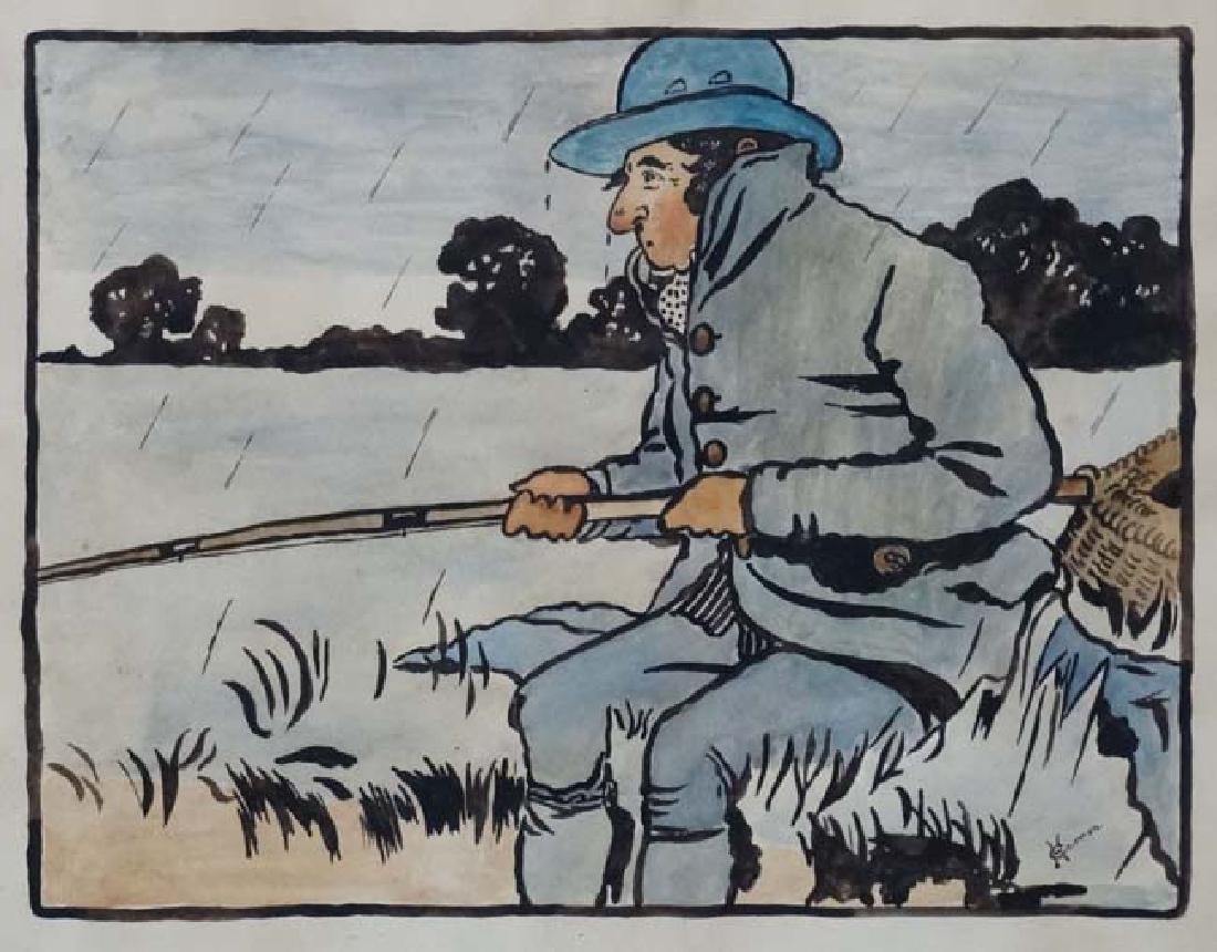 H Curren C.1900 Pen ink and watercolour , a pair - 4