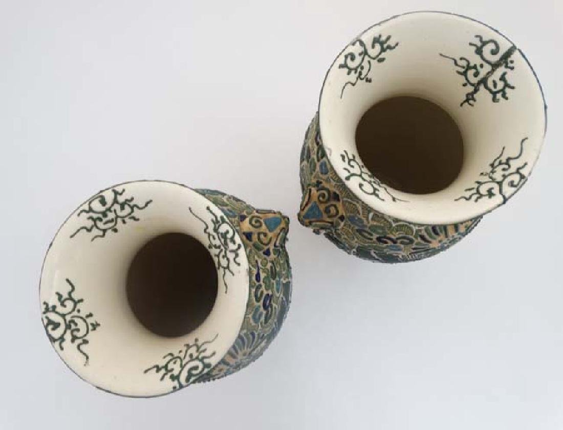 A pair of Japanese Satsuma Moriage twin handled vases, - 4