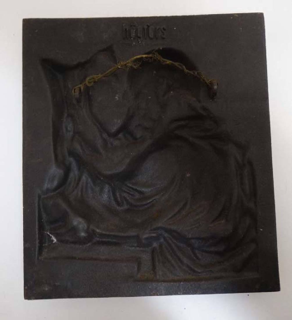 A 19thC cast iron relief plaque depicting a scholar and - 4