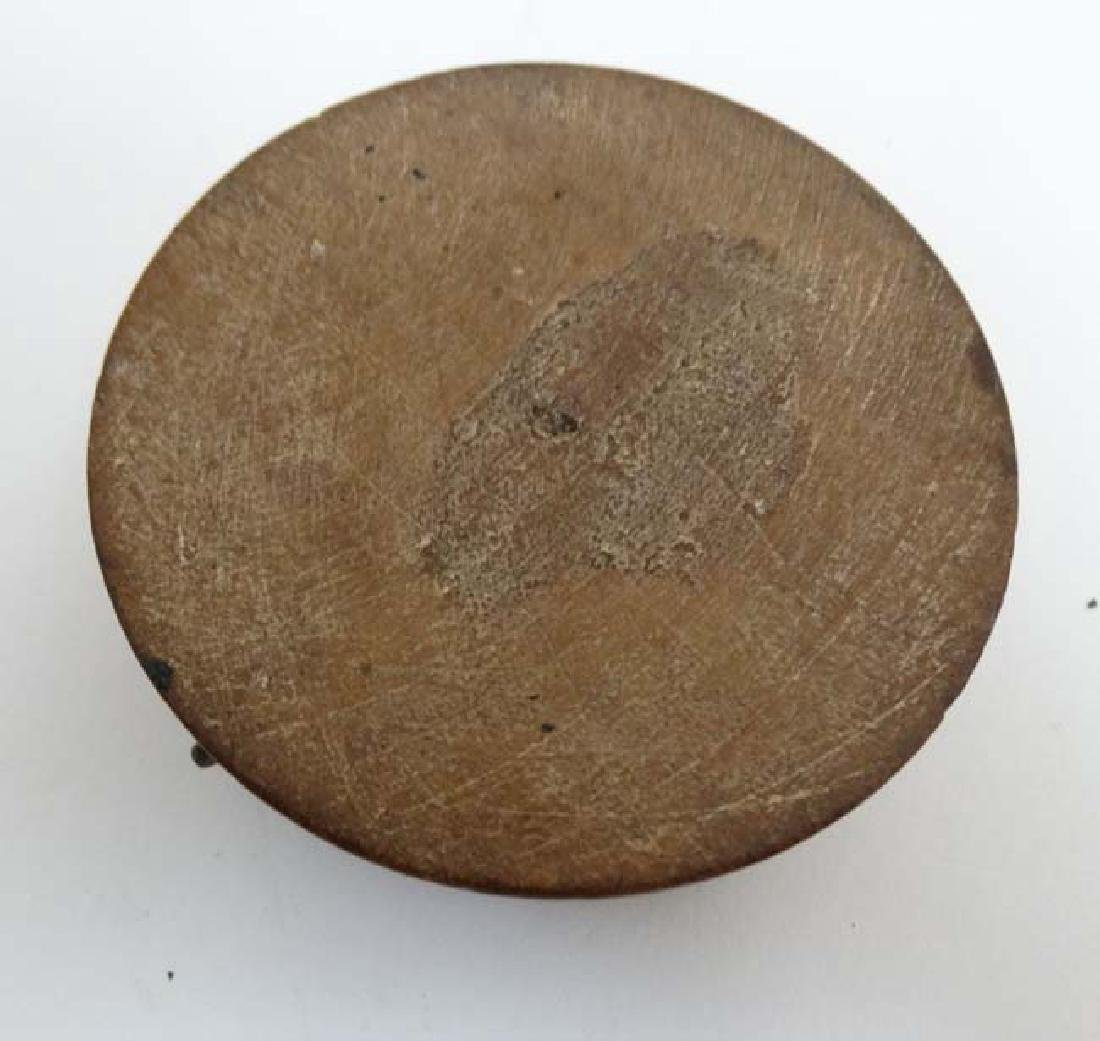 An old Indian clay? spice box with inked bone? - 2