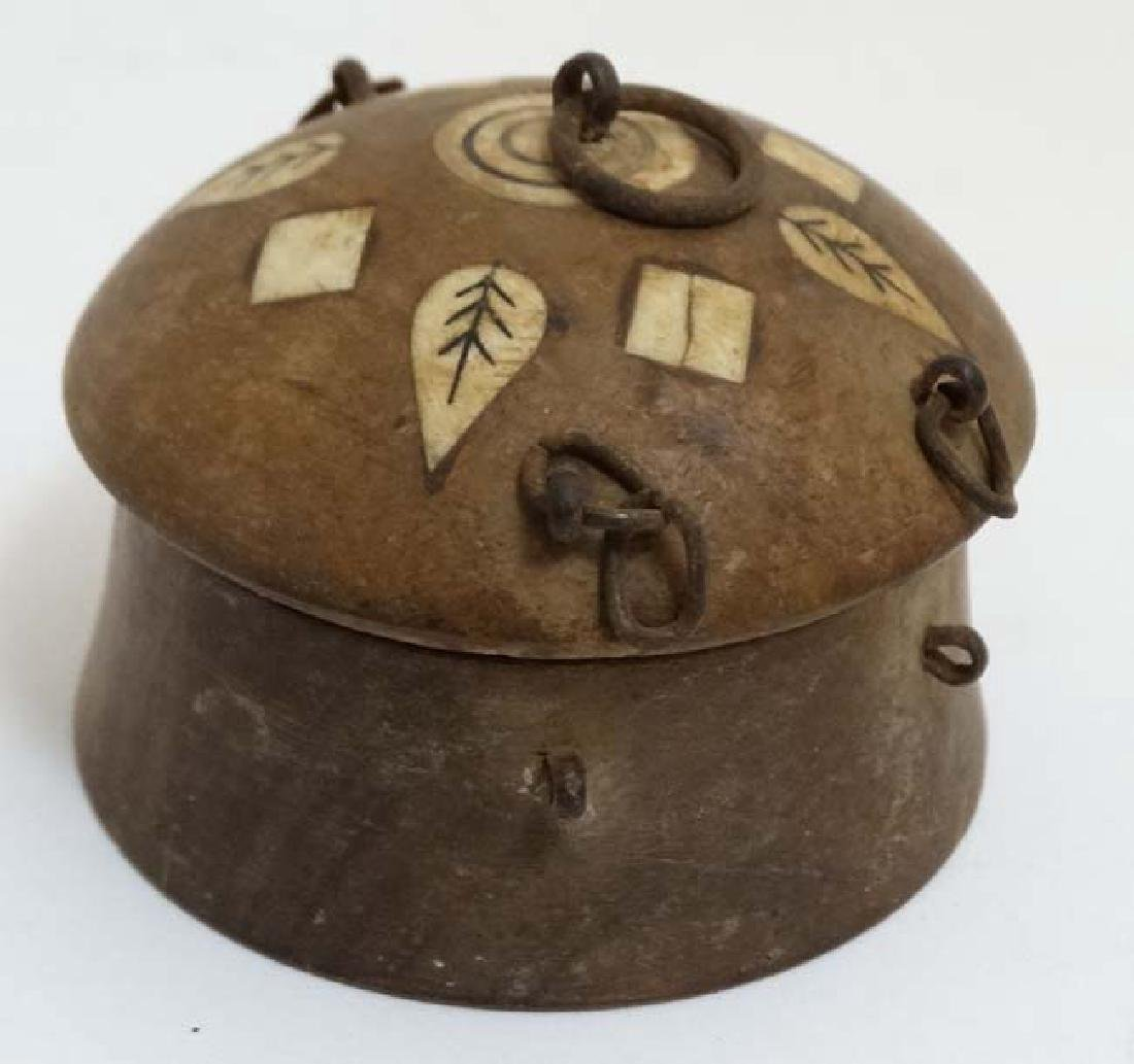An old Indian clay? spice box with inked bone? - 3