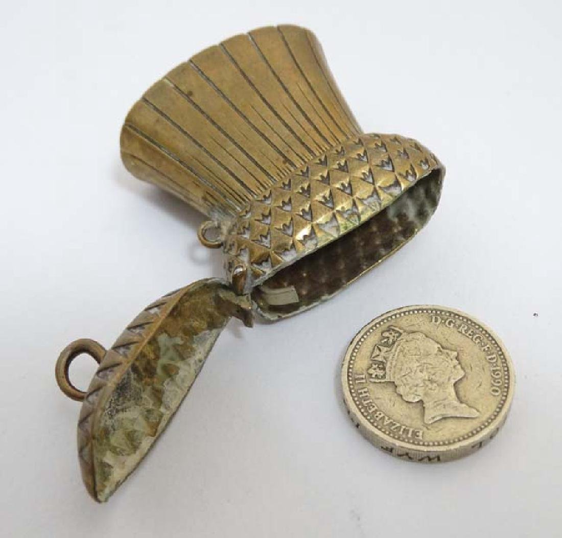 A brass vesta / match holder formed as a Scottish - 3
