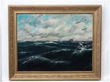 Hubert Barrett 1940 War Propaganda Oil on canvas
