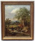 I Mackill XIX Oil on canvas A women fetching water