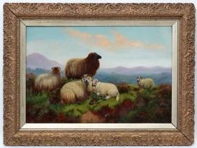John Shirley Fox (c.1860-1939), Oil on canvas, Sheep on
