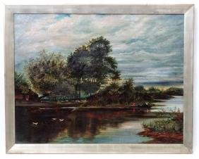 E M Clarke 1907, Oil on canvas, Large River landscape,