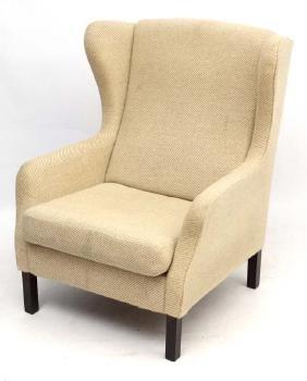 Vintage Retro : a Danish woollen wing back upholstered