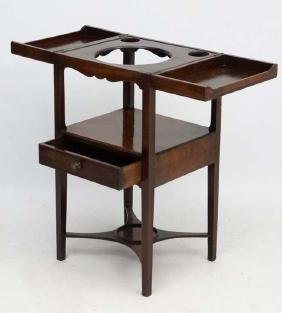 A Geo III mahogany washstand with fold open top 34''