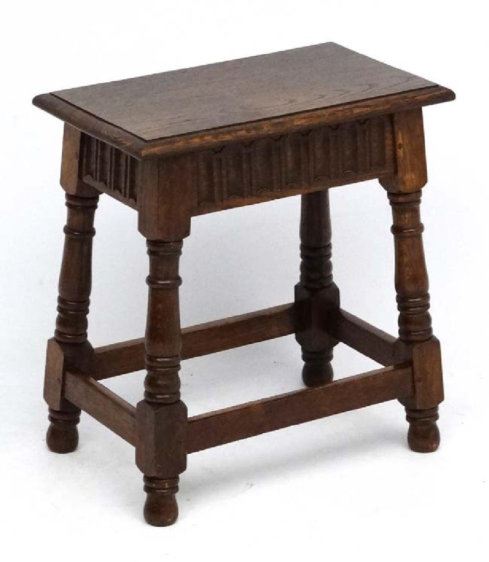 An early- mid 20 thC Oak Joint stool in the