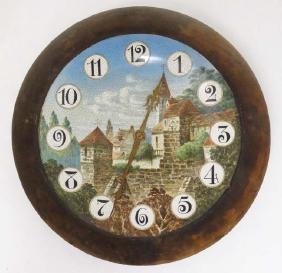 Black Forest Porcelain dial clock : a German plated ,