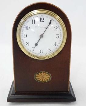Edwardian Mahogany Mantle Clock : an arched shaped
