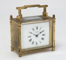 S Barnett Peterborough ' brass cased carriage clock : a