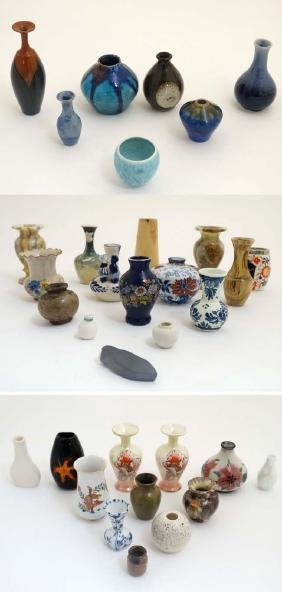 A collection of 33 small Studio Pottery and other vases