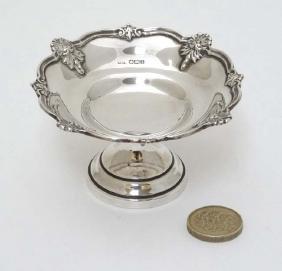 A silver bon bon dish of pedestal form hallmarked