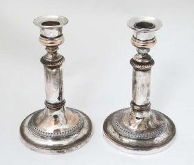 A pair of Sheffield plate telescopic candlesticks  7