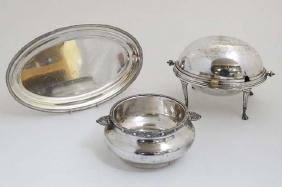 3 items of silver plated wares comprising  oval tray, a