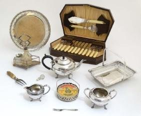 Assorted silver plated wares to include cake basket,