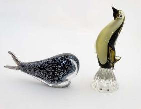 Studio Art Glass : a stylised glass figure of a whale