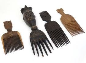 Ethnographic Native Tribal : four assorted carved