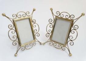 A pair of Victorian brass easel / strut photograph