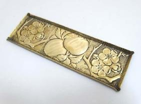 Arts and Crafts embossed brass pen tray with Aesthetic