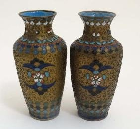 A pair of Oriental Cloisonne decorated brass baluster