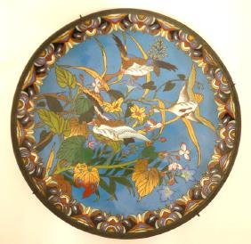 Cloisonne :An oriental charger depicting 3 Geese