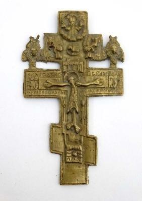 A Russian Orthodox 3-bar cross / crucifix of cast brass