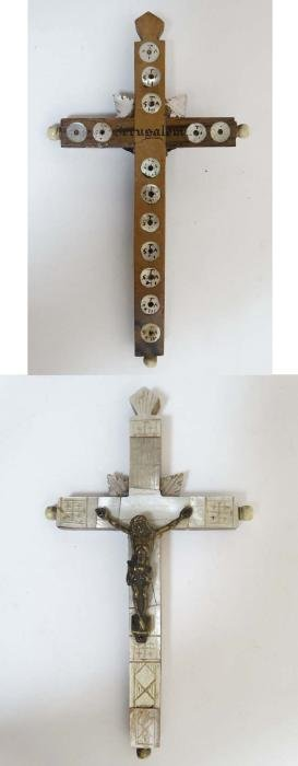 A 'Jerusalem' mother of pearl and olive wood crucifix