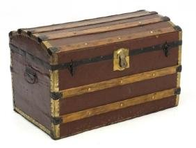 A c.1900 semi domed travelling trunk with lift out tray