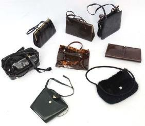 8 Vintage and later ladies handbags to include, bottle